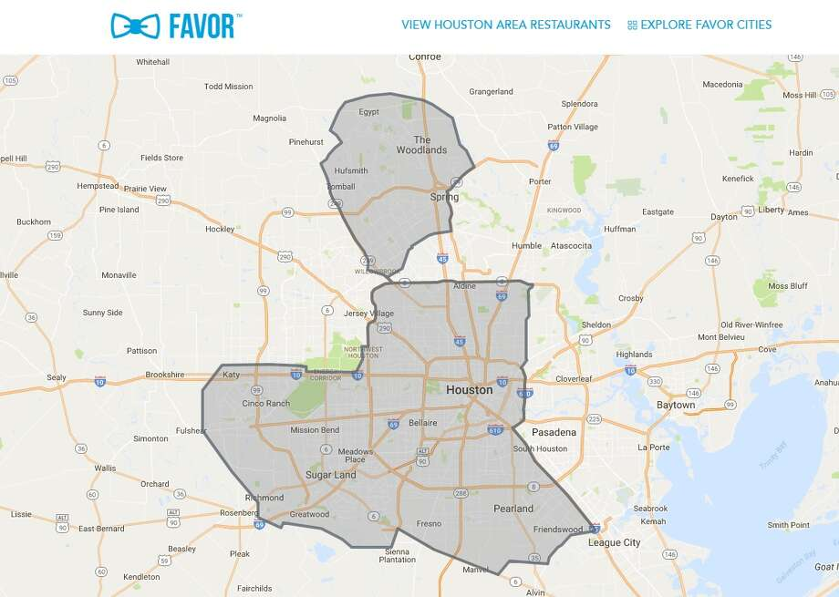 Favor, an on-demand delivery app, has expanded to several Houston suburbs.SLIDESHOW: Keep clicking to see the ridiculous cost of having your entire life delivered for a day. Photo: Favor