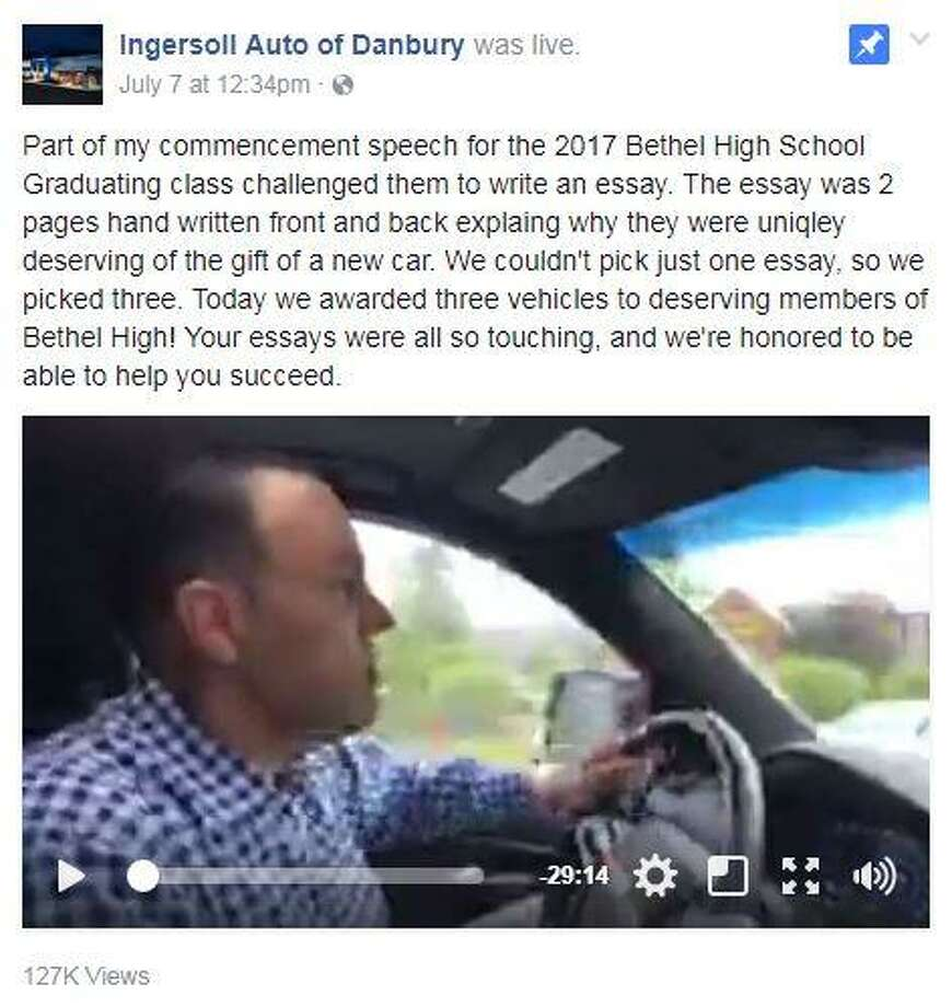 """Todd Ingersoll, owner of Ingersoll Auto of Danbury, gave three Bethel High School graduates a new car Friday July 7, 2017. Late last month he pledged one car to the winner of an essay contest, but shifted plans after receiving """"60 fabulous essays."""">>Here is a list of the unofficial cars of every state... Photo: Contributed Photo / Hearst Connecticut Media / Connecticut Post"""