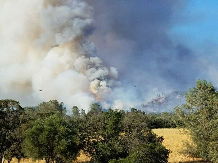 Smoke rises over the Wall Fire in Butte County. Photo: Cal Fire