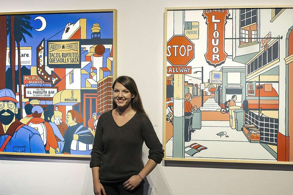 """Emily Fromm at the opening of her art exhibit """"Open Late at 111 Minna St."""