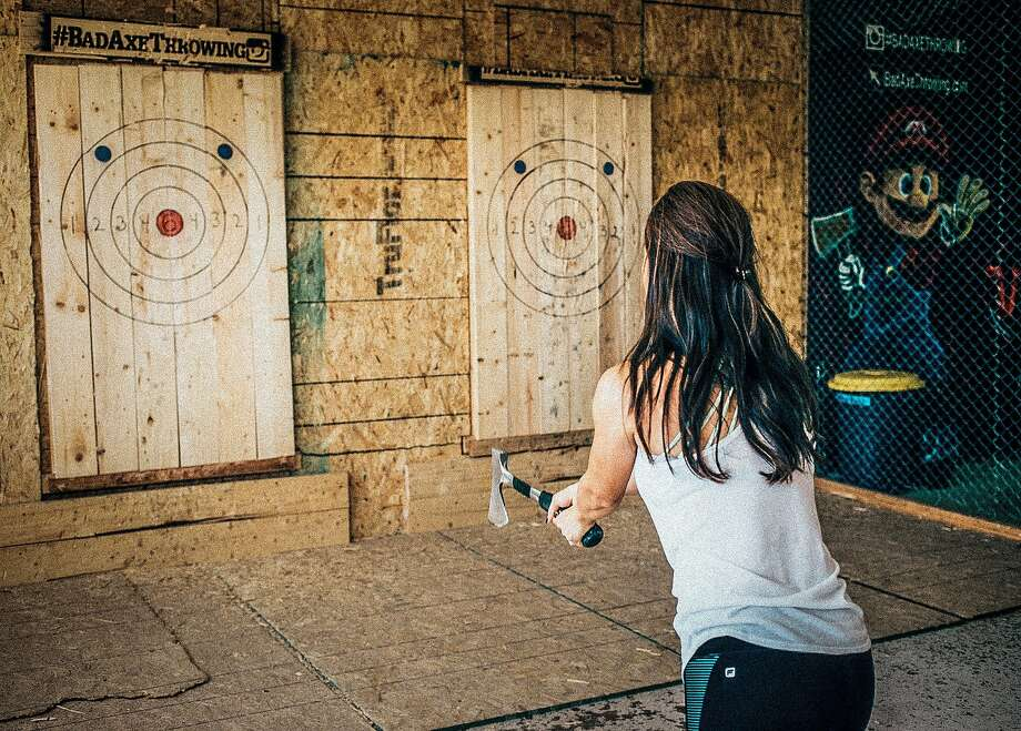 Bad Axe Throwing is an ax-throwing business in Daly City, where players can learn to throw, play games and take part in tournaments. Photo: Courtesy Bad Axe Throwing
