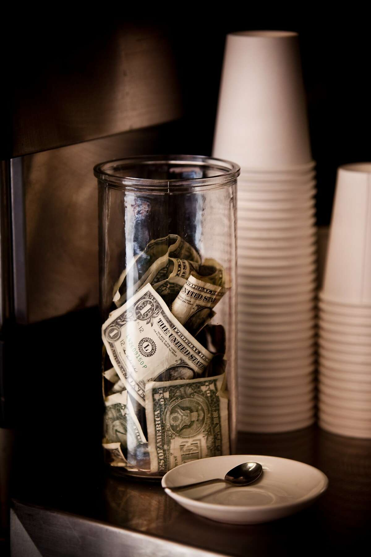 The tip jar at Cento in San Francisco, Calif. is seen on Wednesday, Feb. 24, 2010.