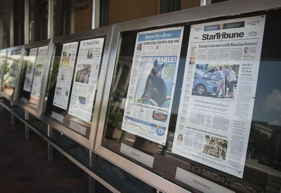 Newspaper front pages are displayed at the Newseum in Washington, Monday, July 10, 2017. Photo: Carolyn Kaster, Associated Press