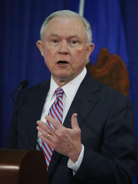 WASHINGTON, DC - JUNE 29:  Attorney General Jeff Sessions speaks during a Hate Crimes Subcommittee summit on June 29, 2017 in Washington, DC. The meeting gave stakeholders the opportunity to offer imput to the committee before it makes its recommendations to the attorney general on what the Department of Justice can do to improve reporting, investigation and prosecution of hate crimes.  (Photo by Mark Wilson/Getty Images) Photo: Mark Wilson, Getty Images