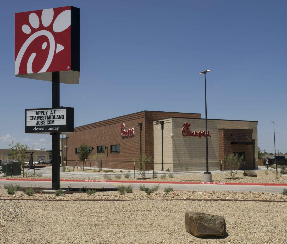 Work continues inside the new Chick-fil-A restaurant 7/10/17 at the corner of Loop 250 and Hwy 191. Tim Fischer/Reporter-Telegram