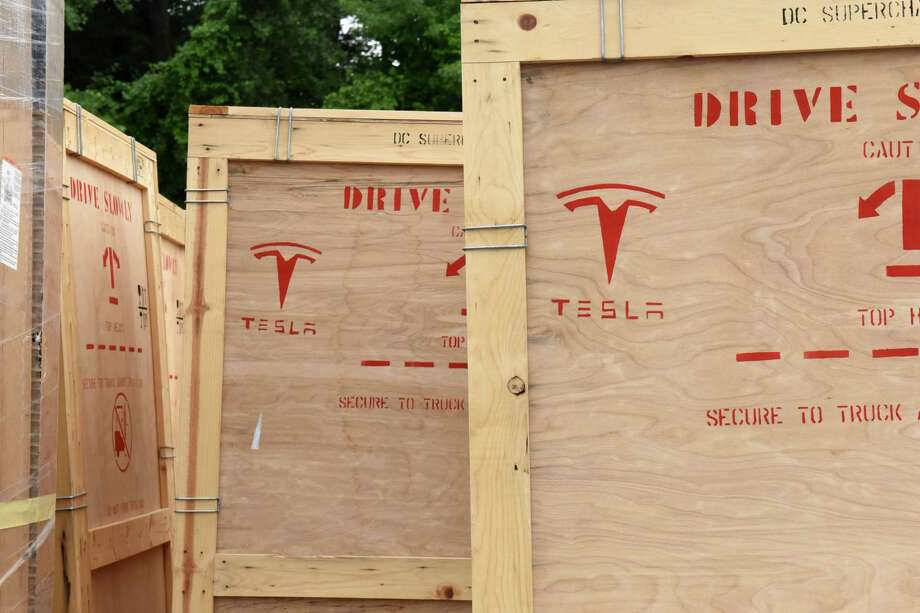 Equipment for Tesla supercharging stations is seen in the parking lot at Crossgates Mall on Monday, July 10, 2017 in Guilderland, N.Y. The Silicon Valley electric car maker is currently constructing a 20-car supercharging station at the Mall. The charging station will be located at the far end of the parking lot in front of Dave & Busters near Dick's Sporting Goods. (Lori Van Buren / Times Union) Photo: Lori Van Buren, Albany Times Union / 40041010A