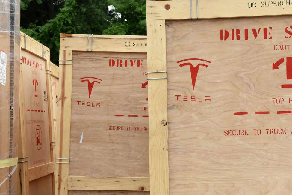 Equipment for Tesla supercharging stations is seen in the parking lot at Crossgates Mall on Monday, July 10, 2017 in Guilderland, N.Y. The Silicon Valley electric car maker is currently constructing a 20-car supercharging station at the Mall. The charging station will be located at the far end of the parking lot in front of Dave & Busters near Dick's Sporting Goods. (Lori Van Buren / Times Union)