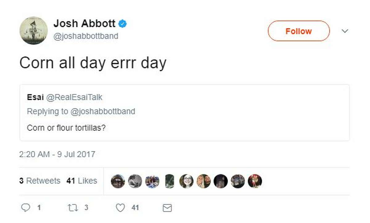 Josh Abbott answered fans' questions on Twitter, including what he likes most about San Antonio and whether he prefers corn or flour tortillas.