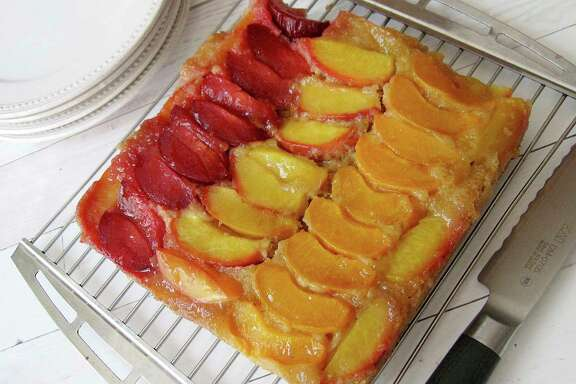 Nothing is the pits about Stone fruit Almond Upside-Down Cake, as long as the fruit is firm.