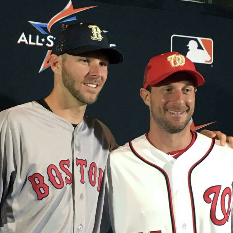 American League pitcher Chris Sale, of the Boston Red Sox, left, poses with National League pitcher Max Scherzer, of the Washington Nationals after the All-Star starting pitchers were introduced at a press conference in Miami, Monday, July 10, 2017. (AP Photo/Ron Blum) Photo: Ron Blum, STF / AP