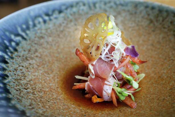 A dish of tuna tataki is shown at Roka Akor, 2929 Weslayan, Friday, June 23, 2017, in Houston. ( Melissa Phillip / Houston Chronicle )