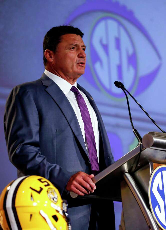 LSU NCAA college football coach Ed Orgeron speaks during the Southeastern Conference's annual media gathering, Monday, July 10, 2017, in Hoover, Ala. (AP Photo/Butch Dill) Photo: Butch Dill, FRE / Associated Press