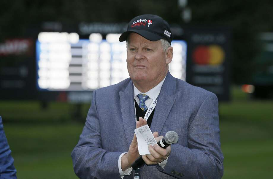 FILE - In this Oct. 16, 2016, file photo, Johnny Miller stands on the 18th green of the Silverado Resort North Course during the trophy presentation of the Safeway Open PGA golf tournament, in Napa, Calif. (AP Photo/Eric Risberg, File) Photo: Eric Risberg, Associated Press