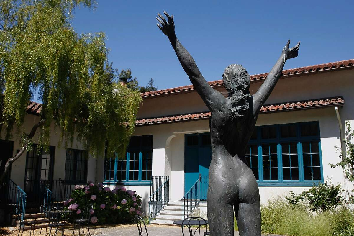 """A sculpture by Roberta Weir, 1986, """"Power of Woman"""" is dedicated to the strong, proud women of Mills College in Oakland, a private women's college founded in 1852. Mills is having financial troubles and has fired five tenured professors and several untenured faculty members and staff."""