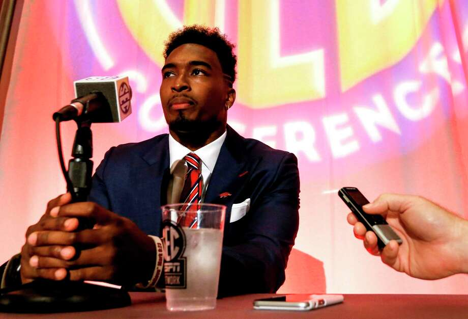 Arkansas NCAA college football player Kevin Richardson II speaks during the Southeastern Conference's annual media gathering, Monday, July 10, 2017, in Hoover, Ala. (AP Photo/Butch Dill) Photo: Butch Dill, FRE / Associated Press