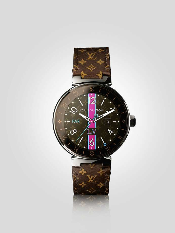The Tambour Horizon smart watch is a new offering in the luxury market. The wearer can choose from 60 detachable straps, including the iconic monogram logo, and a number of (digital) watch faces. Photo: Louis Vuitton