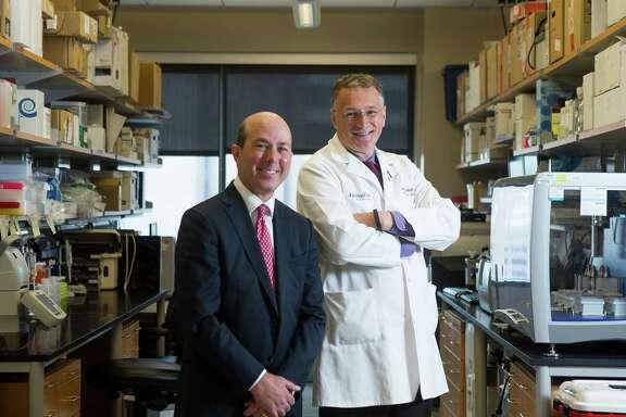 Evan Katz (left) and Dr. Mauro Ferrari at Houston Methodist hospital, Wednesday, May 31, 2017, in Houston. The Katz family is donating $21 million for research at Methodist's head injury institute. (Mark Mulligan / Houston Chronicle)