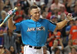 New York Yankee Aaron Judge wins the T-Mobile Home Run Derby at Marlins Park in Miami, Florida on Monday, July 10, 2017. (Patrick Farrell/Miami Herald/TNS)