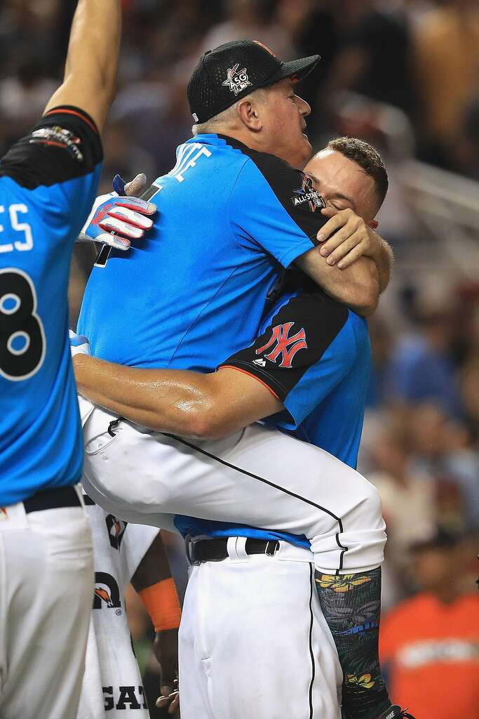 MIAMI, FL - JULY 10:  Aaron Judge #99 of the New York Yankees celebrates with Danilo Valiente after winning the T-Mobile Home Run Derby at Marlins Park on July 10, 2017 in Miami, Florida.  (Photo by Mike Ehrmann/Getty Images) Photo: Mike Ehrmann, Getty Images