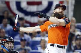 Colorado Rockies' Charlie Blackmon competes during the MLB baseball All-Star Home Run Derby, Monday, July 10, 2017, in Miami. (AP Photo/Wilfredo Lee)