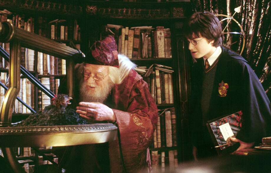 """Harry Potter, played by Daniel Radcliffe, watches as Professor Dumbledore, played by Richard Harris, feeds Fawkes the Phoenix in """"Harry Potter and the Chamber of Secrets."""" The San Antonio Symphony performed John Williams' music score to the movie screening live Friday night at the Majestic Theatre. Photo: Warner Bros. / KRT"""