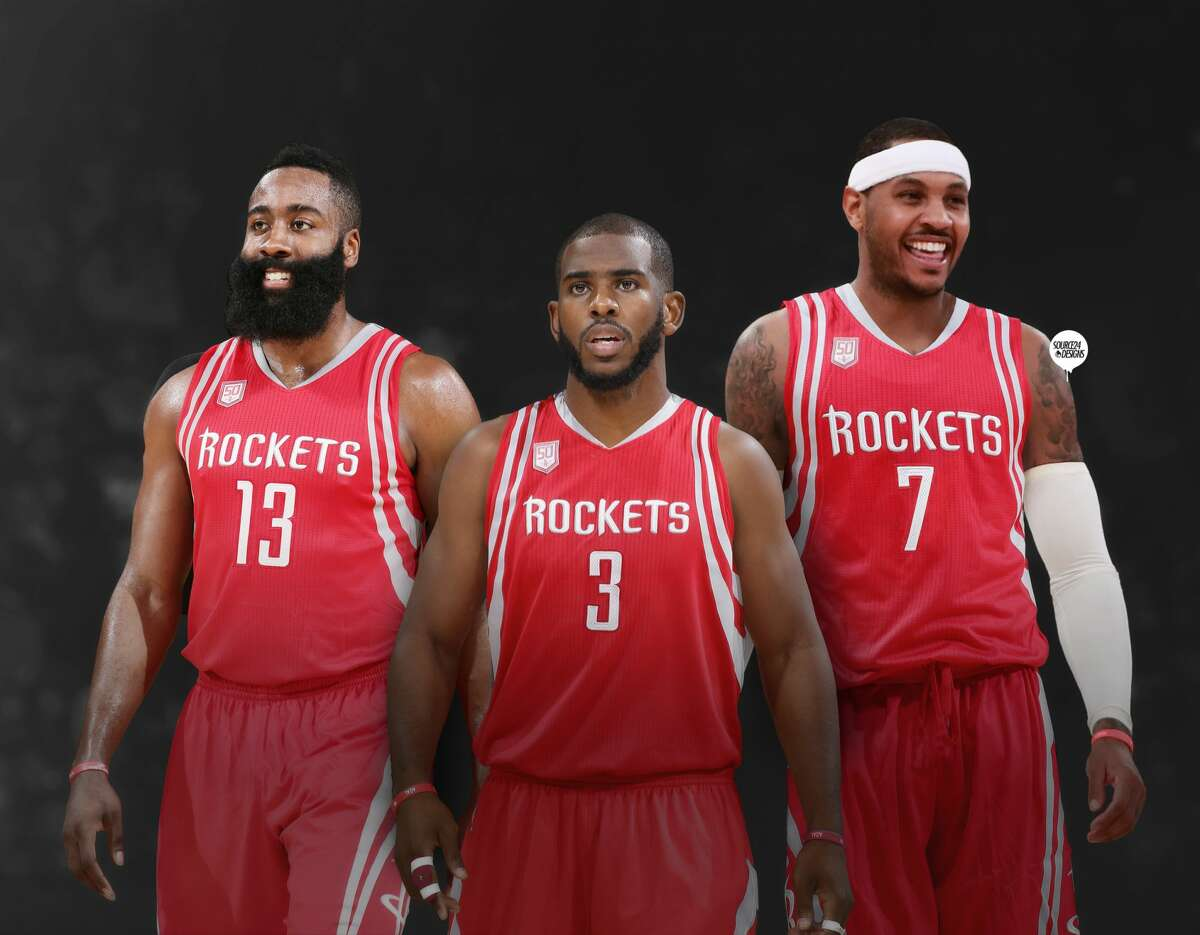 Digital artist Ishaan Mishra created this image showing a potential power Rockets trio involving Carmelo Anthony. Click to see photos from Carmelo Anthony's visit with the Rockets.