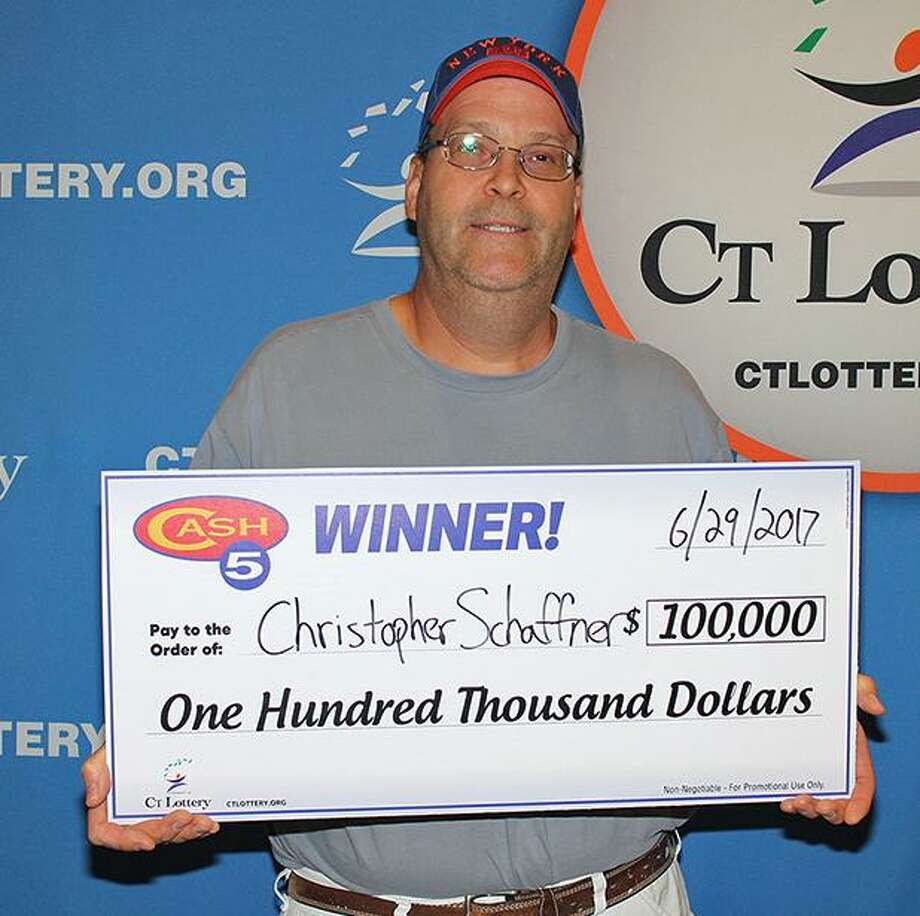 Christopher Schaffner, of Cos Cob, won $100,000 on a CT Lottery ticket on June 29, 2017. Photo: CT Lottery Photo