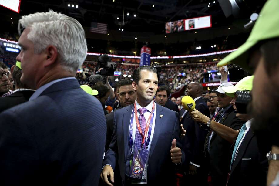 """FILE — Donald Trump Jr. after addressing the Republican National Convention, in Cleveland, July 19, 2016. Within minutes of receiving a June 3, 2016 email relating a senior Russian government official's promise of dirt on Hillary Clinton, Trump Jr. replied """"€œIf it'€™s what you say I love it especially later in the summer,""""€ the New York Times reported on July 11, 2017. (Sam Hodgson/The New York Times) Photo: SAM HODGSON/NYT"""