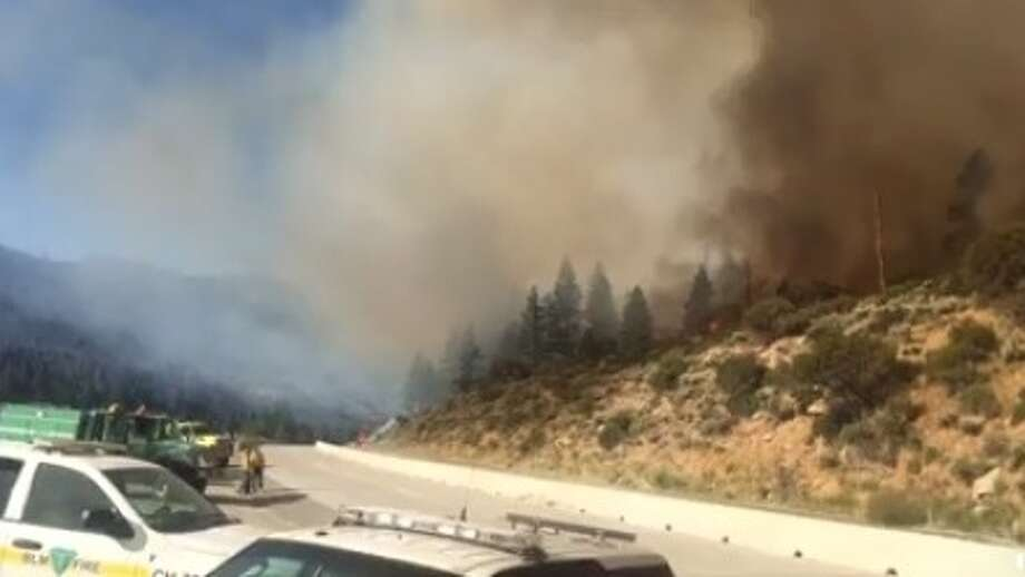 A wildfire burning Tuesday along the eastern Sierra at the Nevada state line has once again prompted a portion of Interstate 80 to be shut down east of Truckee, the California Highway Patrol said. Photo: California Highway Patrol