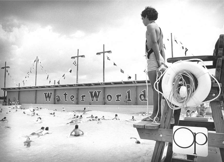 Scene at wave pool at WaterWorld, Aug. 15, 1983. Photo: Betty Tichich/Houston Chronicle