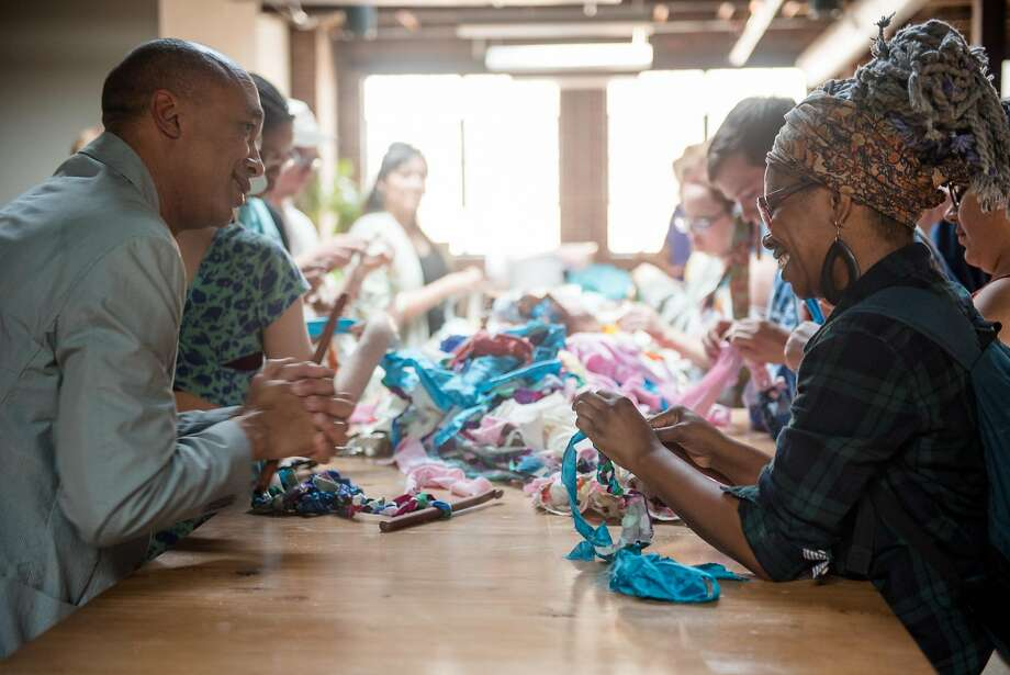 "Ramekon O'Arwisters (left) will lead a Crochet Jam after the ""Queer Threads: Crafting Identity and Community"" panel. Photo: Carlos Valladares, Courtesy Of John Chaich"