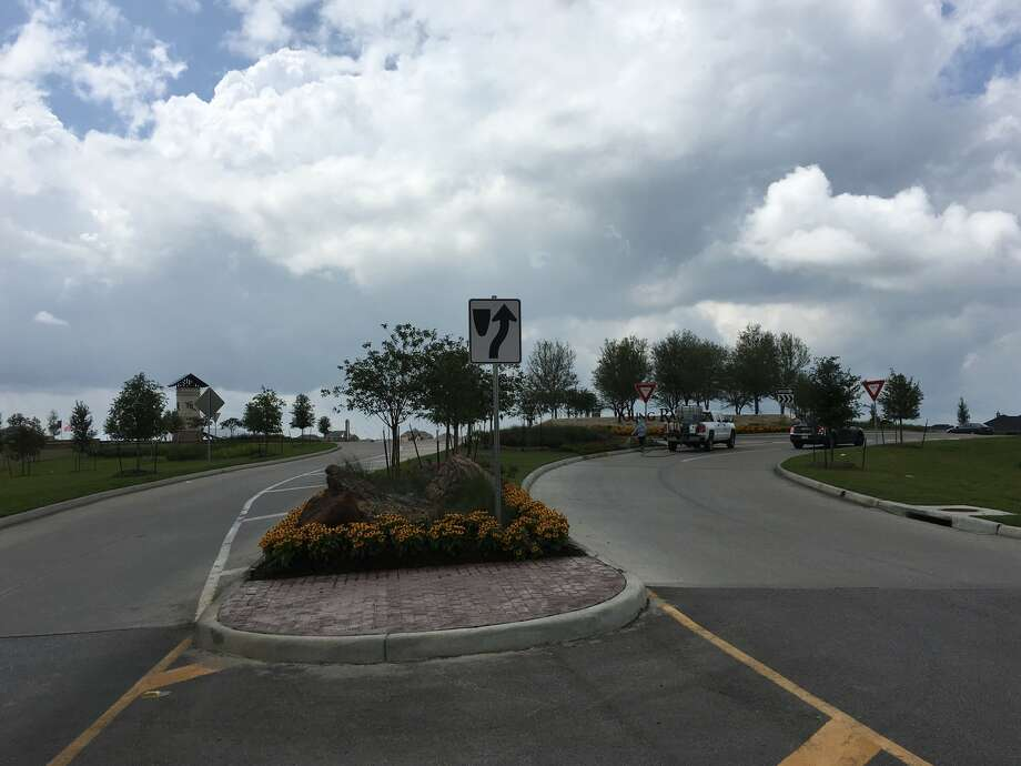 Texas Heritage Parkway would be built with roundabouts like this at Kingsland Boulevard and Pederson Road at Young Ranch. Photo: Karen Zurawski