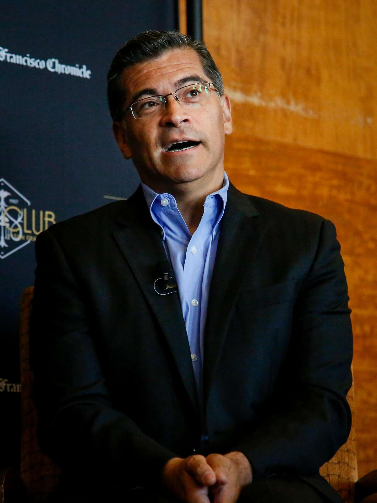 California's Attorney General Xavier Becerra speaks with The Chronicle's John Diaz at the City Club of San Francisco about California's resistance to President Trump's policies in San Francisco on Thursday, June 22, 2017.
