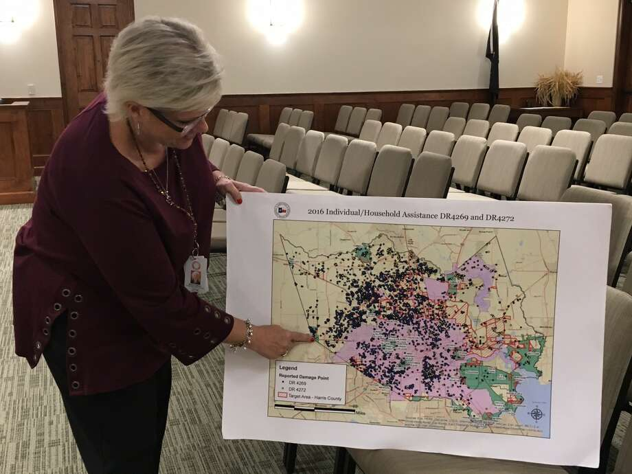 The city of Katy held a July 5 meeting in council chambers seeking public comment regarding unmet needs of residents and businesses resulting from the Tax Day Floods of April 2016. City residents sustained about $1.2 million worth of damage to homes, businesses and property, according to Maria Galvez, left, the city's emergency management coordinator. The Texas General Land Office and Harris County are working with the city to obtain Community Development Block Grant Disaster Recovery funding. People who were affected by the flooding but unable to attend the meeting can still submit comments to Galvez until the end of July by emailing oem@cityofkaty.com or by calling 832-418-1574.  Photo: Karen Zurawski