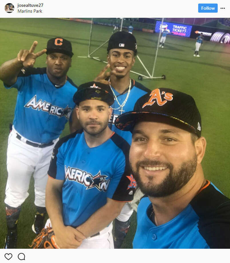 Second baseman Jose Altuve (center) smiles with Oakland's Yonder Alonso (right), Cleveland's Francisco Lindor (center right) and Cleveland's Jose Ramirez (left) during the 2017 All-Star Game in Miami.Source: Instagram Photo: Instagram