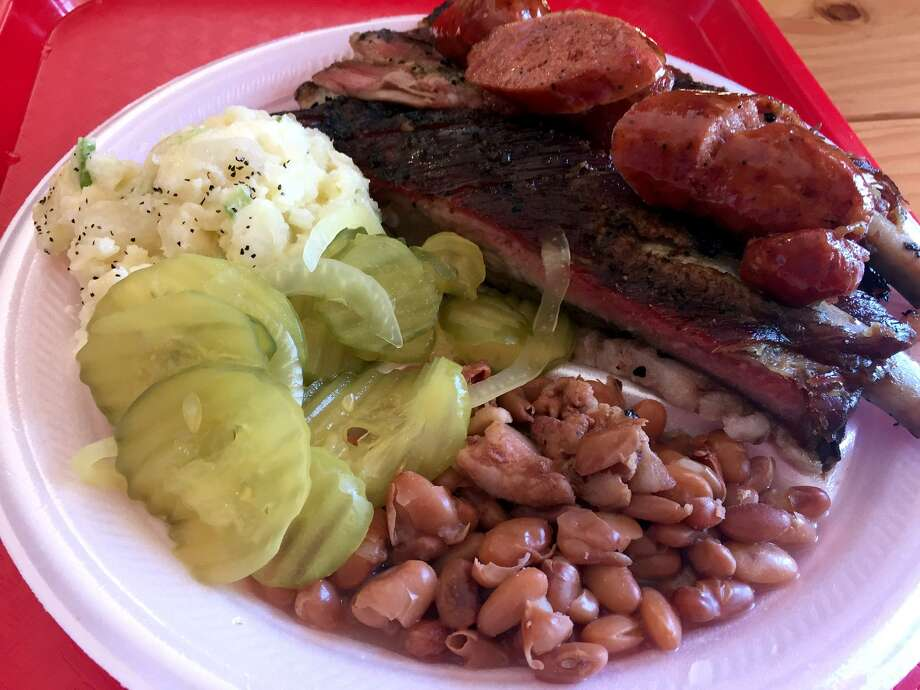 Brisket, pork rib and sausage plate at Orly's BBQ. Photo: Paul Stephen / San Antonio Express-News