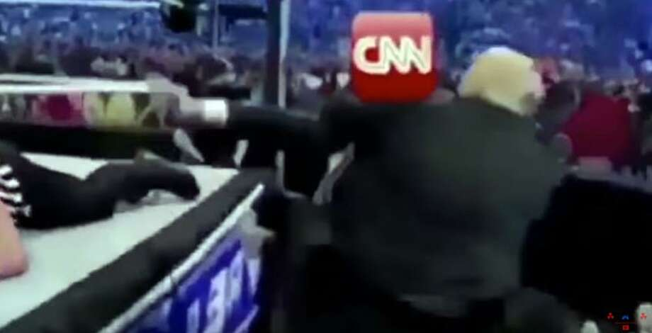 President Donald Trump recently posted a short video to Twitter showing him in a wrestling match with someone whose head had been replaced with a CNN logo. A reader says such antics pose a threat to freedom of the press. Photo: Twitter / Connecticut Post Contributed
