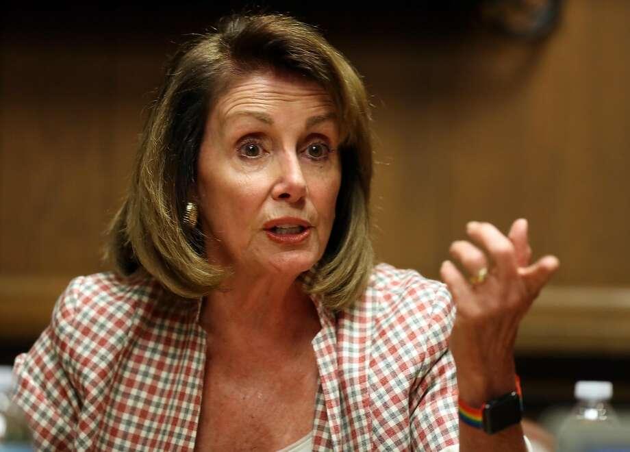 U.S. House Minority Leader Nancy Pelosi speaks to San Francisco Chronicle Editorial Board on Monday, July 10. Photo: Scott Strazzante, The Chronicle