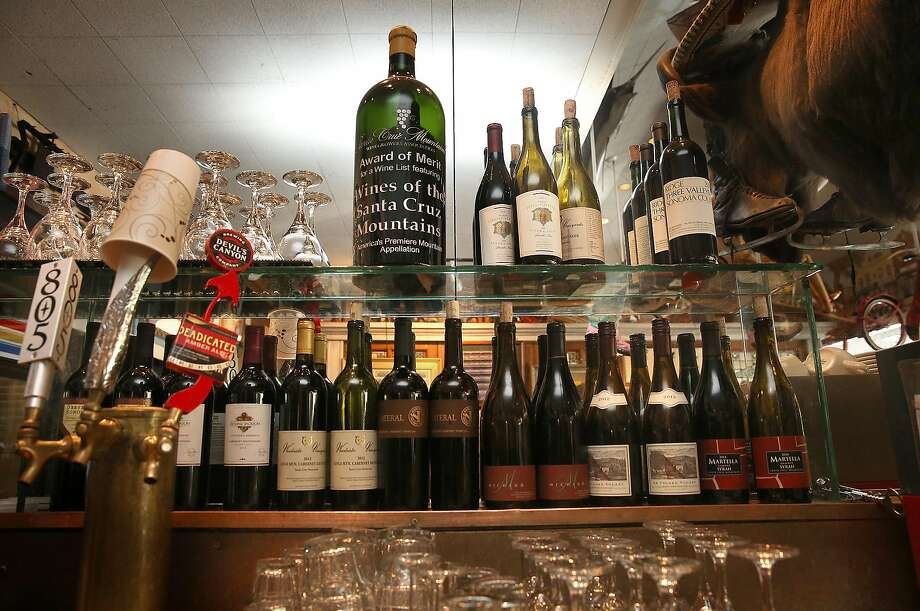 Some of the bottles of local Santa Cruz wine at the bar. Photo: Liz Hafalia, The Chronicle