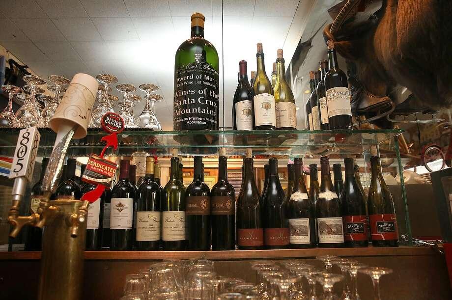 Some of the bottles of local Santa Cruz wine at the bar. Photo: Liz Hafalia, The Chronicle