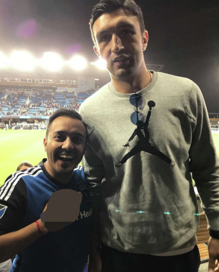 Arthur Cervantes, a lone Spurs fan living in San Jose, who posed as a fan beside Pachulia then sneakily shot him the finger. See the uncensored photo in the next slide. Photo: Courtesy, Arthur Cervantes
