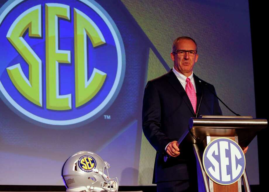 Conference Commissioner Greg Sankey speaks during the NCAA college football Southeastern Conference's annual media gathering, Monday, July 10, 2017, in Hoover, Ala. (AP Photo/Butch Dill) Photo: Butch Dill, FRE / Associated Press
