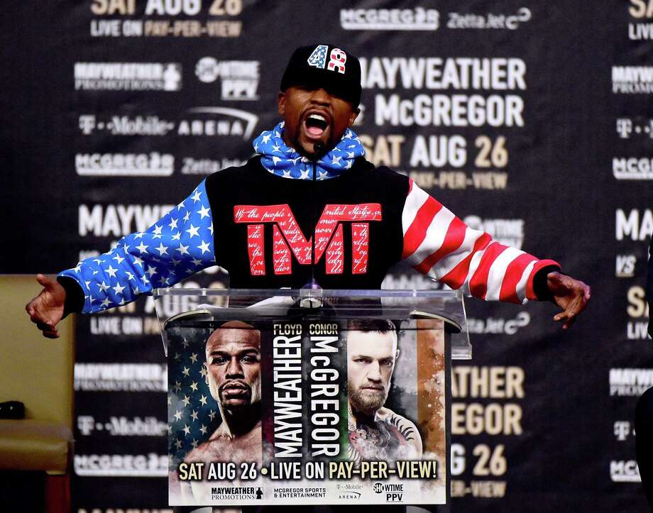 LOS ANGELES, CA - JULY 11:  Floyd Mayweather Jr. speaks during the Floyd Mayweather Jr. v Conor McGregor World Press Tour at Staples Center on July 11, 2017 in Los Angeles, California. Photo: Harry How, Getty Images / 2017 Getty Images