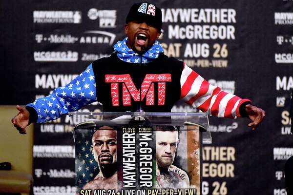 LOS ANGELES, CA - JULY 11: Floyd Mayweather Jr. speaks during the Floyd Mayweather Jr. v Conor McGregor World Press Tour at Staples Center on July 11, 2017 in Los Angeles, California.