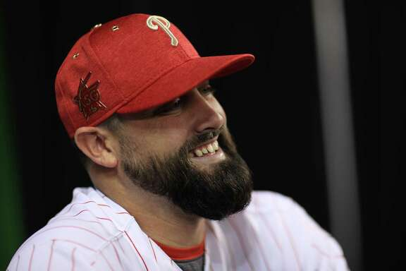 MIAMI, FL - JULY 10:  Pat Neshek #17 of the Philadelphia Phillies and the National League speaks with the media during Gatorade All-Star Workout Day ahead of the 88th MLB All-Star Game at Marlins Park on July 10, 2017 in Miami, Florida.