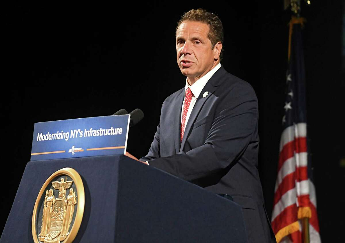 Gov. Andrew Cuomo holds a press conference to talk about New York spending money on the new Schenectady train station along with other infrastructure plans at Proctors Theater on Tuesday, July 11, 2017 in Schenectady, N.Y. (Lori Van Buren / Times Union)