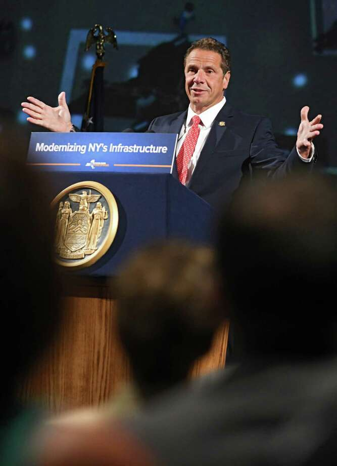 Gov. Andrew Cuomo holds a press conference to talk about New York spending money on the new Schenectady  train station along with other infrastructure plans at Proctors Theater on Tuesday, July 11, 2017 in Schenectady, N.Y. (Lori Van Buren / Times Union) Photo: Lori Van Buren, Albany Times Union / 40041024A