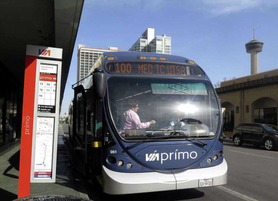 In addition to the park-and-ride service, VIA will be redirecting its VIA Prímo buses to serve the Robert Thompson Transit Center at the Alamodome during the Gold Cup soccer games. Photo: San Antonio Express-News File Photo / San Antonio Express-News