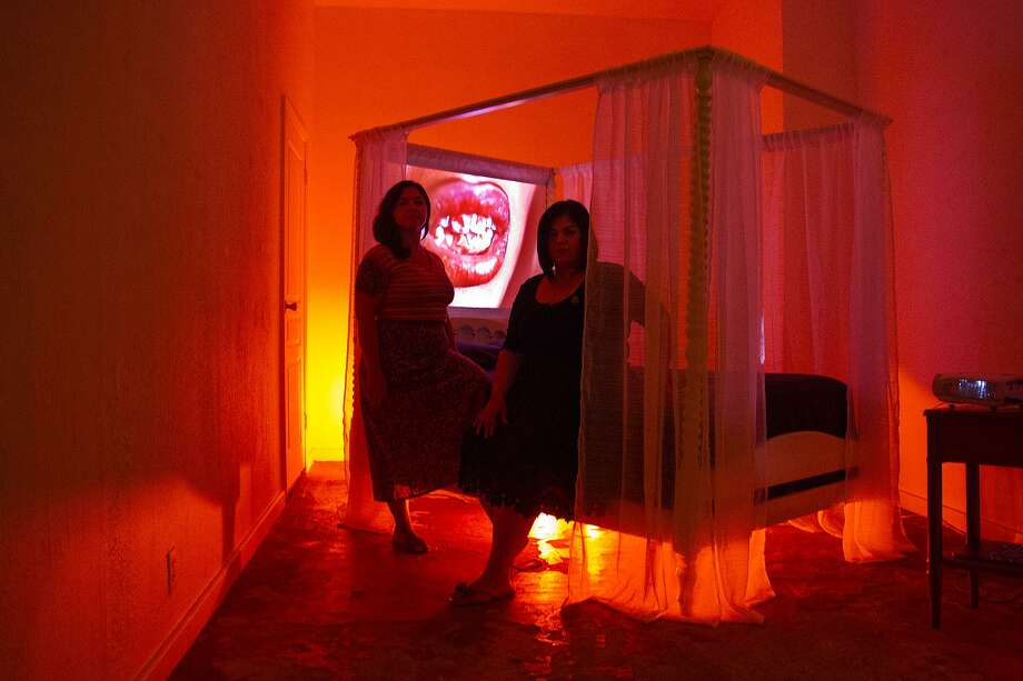 """Angel Baby,"" an installation by artists Audrya Flores and Lisette Chavez at AP Art Lab, is a feminist take on the legend of the devil at the dance. Photo: Alma E. Hernandez /For The San Antonio Express News"