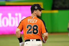 MIAMI, FL - JULY 11: Buster Posey #28 of the San Francisco Giants and the National League warms up during batting practice for the 88th MLB All-Star Game at Marlins Park on July 11, 2017 in Miami, Florida.  (Photo by Mark Brown/Getty Images)